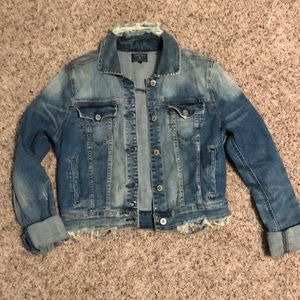 Super cool distressed Jean jacket,